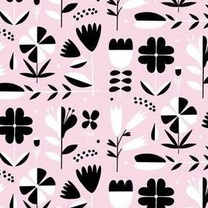 Folk art floral on pink
