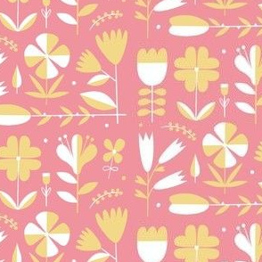 Folk art floral yellow and pink