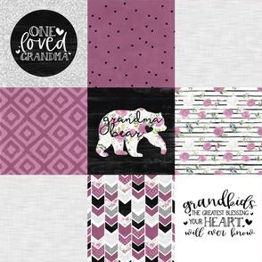 Grandma Bear//Merlot - Wholecloth Cheater Quilt