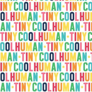 tiny cool human rainbow with navy UPPERcase