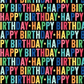 happy birthday rainbow on black UPPERcase