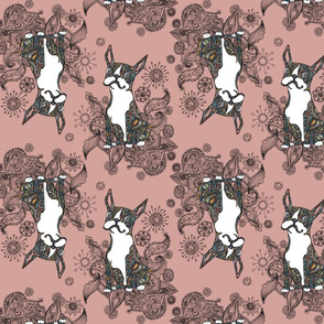 Boston Terrier Topsy Turvy Rose
