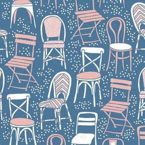 Cafe Chairs - blue and pink