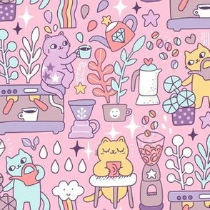 Today's good mood is sponsored by coffee. Cute pastel cats. Cat illustration.