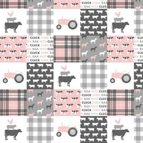 "(1.5"" scale) farm life wholecloth patchwork with plaid - pink and grey C20BS"