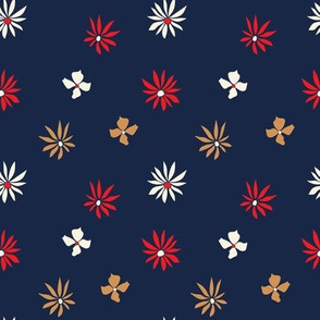 red and blue floral 70s pattern