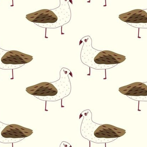 Hand drawn pretty birds in burgundy and olive