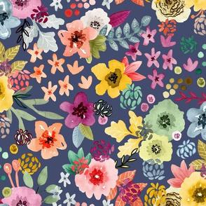 Spring Floral Indigo Violet by Angel Gerardo