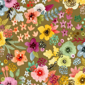 Spring Floral on Honey Gold by Angel Gerardo