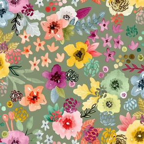 Spring Floral on Sage Green by Angel Gerardo