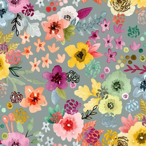 Spring Floral Slate Gray by Angel Gerardo