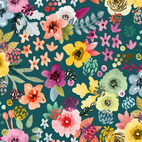 Spring Floral on Teal Blue Green by Angel Gerardo