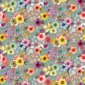 Spring Floral Slate Gray Small Scale by Angel Gerardo