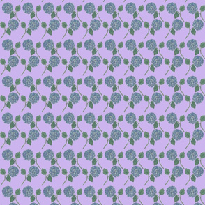 Blue Nantucket Hydrangeas Repeat on Pale Lilac Hand Painted Watercolor