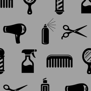 Salon & Barber Hairdresser Pattern in Black with Medium Gray Background (Large Scale)