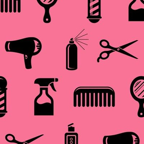 Salon & Barber Hairdresser Pattern in Black with Coral Pink Background (Large Scale)