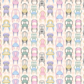 Pastel Cafe Chairs on Gingham