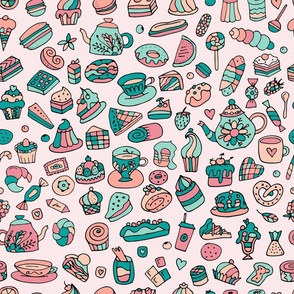 Cakes and sweets, pastel colors