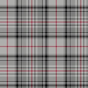 "Glen Moy tartan, 10"", double crimson stripe"