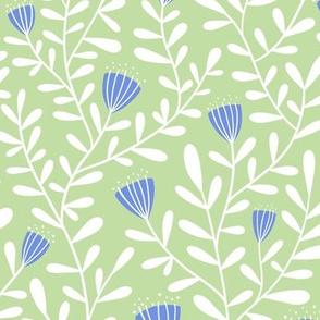Flower vine - blue on green - large scale
