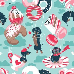 Small scale // Pastel café sweet love dream // aqua background red pastry details blue dachshund dog puppies