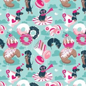 Tiny scale // Pastel café sweet love dream // aqua background fuchsia pink pastry details blue dachshund dog puppies
