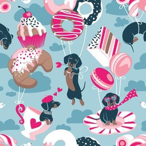 Small scale // Pastel café sweet love dream // pastel blue background fuchsia pink pastry details blue dachshund dog puppies