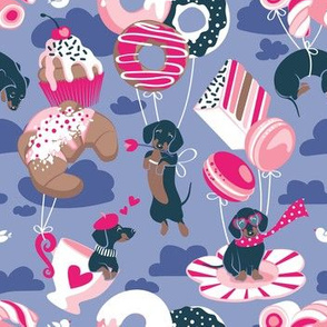 Small scale // Pastel café sweet love dream // indigo blue background fuchsia pink pastry details blue dachshund dog puppies