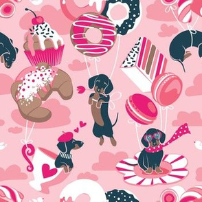 Small scale // Pastel café sweet love dream // pastel pink background fuchsia pink pastry details blue dachshund dog puppies