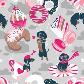 Small scale // Pastel café sweet love dream // grey background fuchsia pink pastry details blue dachshund dog puppies