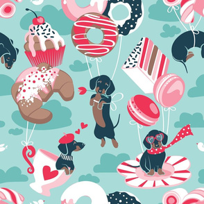 Normal scale // Pastel café sweet love dream // aqua background red pastry details blue dachshund dog puppies