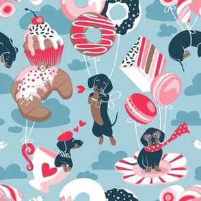 Small scale // Pastel café sweet love dream // pastel blue background red pastry details blue dachshund dog puppies