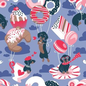 Small scale // Pastel café sweet love dream // indigo blue background red pastry details blue dachshund dog puppies