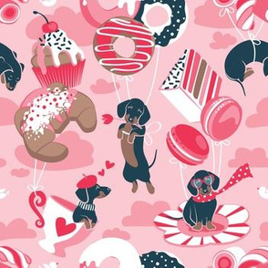 Small scale // Pastel café sweet love dream // pastel pink background fuchsia red details blue dachshund dog puppies