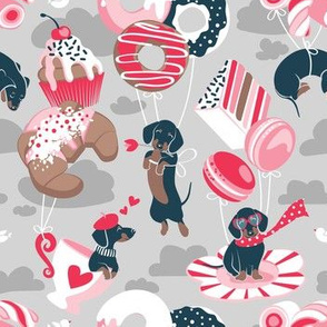 Small scale // Pastel café sweet love dream // grey background red pastry details blue dachshund dog puppies