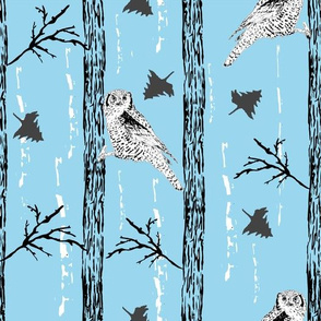 Woodland Owls Blue