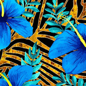 2020 Tiger stripes with blue Hibiscus Flowers