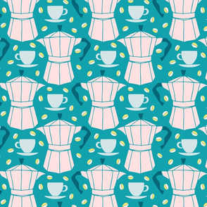 espresso pastel pink and teal by Pippa Shaw