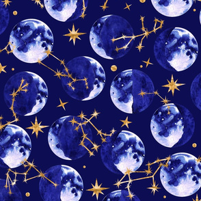 Moon Phases and Astrology in Blue