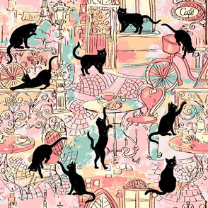 Black cat caffe pink green