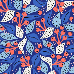 papercut collage coral berries