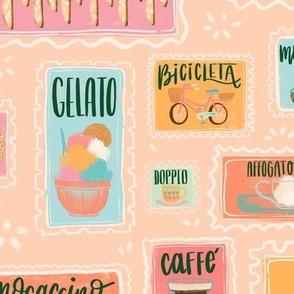 Large Pastel Cafe Retro Menu Stamps // © ZirkusDesign Italian Coffee Bar Yumminess // Gelato, Biscotti, Latte, Macchiato, Cappucino, Mocaccino, Doppio, Pizzelle, Romano, Bomboloni, Affgogato, Shakerato, Torta, Caprese // Italy Food and Drink
