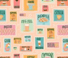 Pastel Cafe Retro Menu Stamps // Italian Coffee Bar Yumminess // Gelato, Biscotti, Latte, Macchiato, Cappucino, Mocaccino, Doppio, Pizzelle, Romano, Bomboloni, Affgogato, Shakerato, Torta, Caprese // Italy Food and Drink