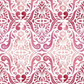 Watercolor damask - desert rose - small scale