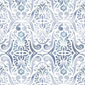 Watercolor damask - clear waters - small scale