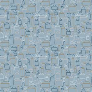Simple Line Art Houses on Blue