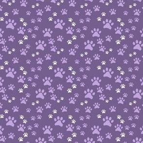 Lavender Pawprints on Purple