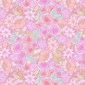 spring pop floral - small scale pastel