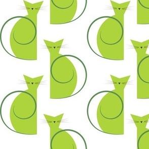 cats - luna cat green - geometric cats