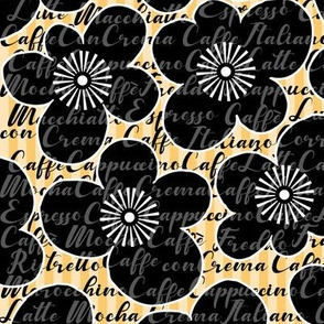 Retro Caffè Flowers - black-orange